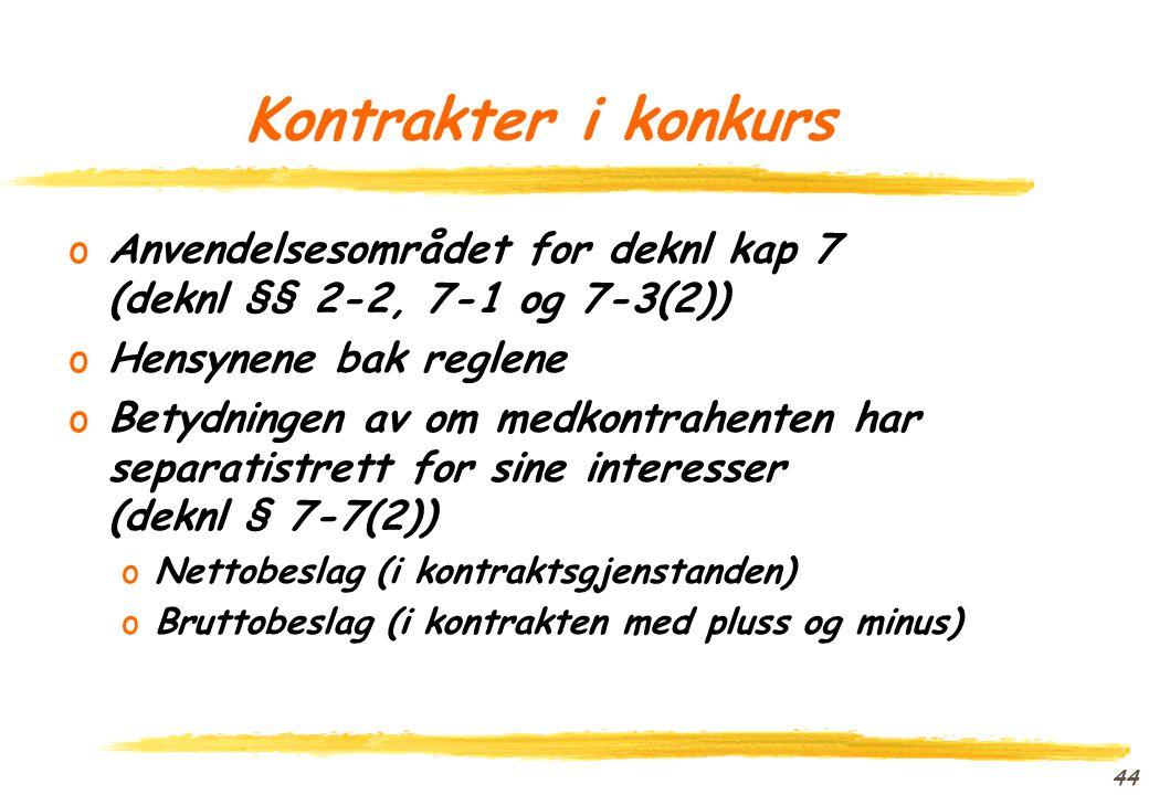 Kontrakter i konkurs Anvendelsesområdet for deknl kap 7 (deknl §§ 2-2, 7-1 og 7-3(2)) Hensynene bak reglene.