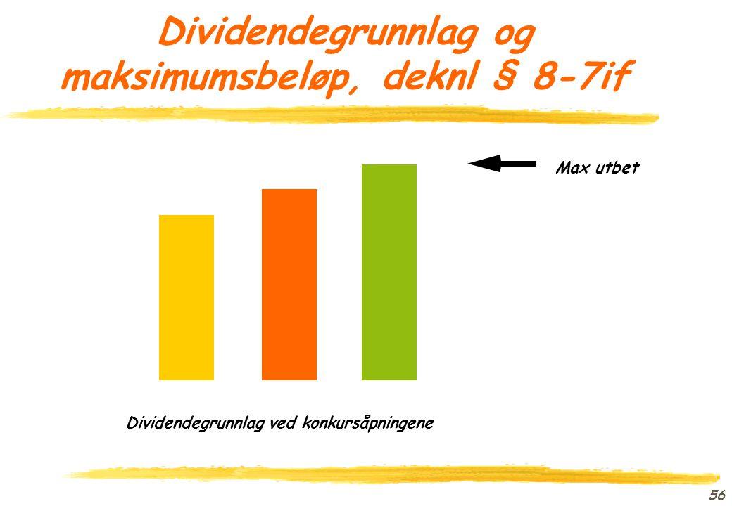 Dividendegrunnlag og maksimumsbeløp, deknl § 8-7if