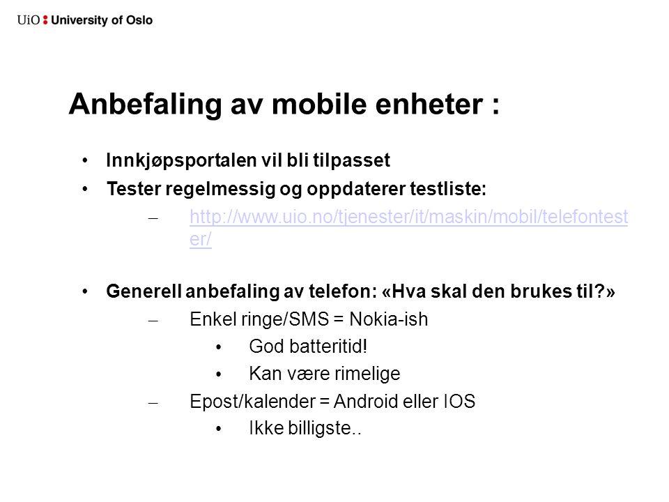 Anbefaling av mobile enheter :