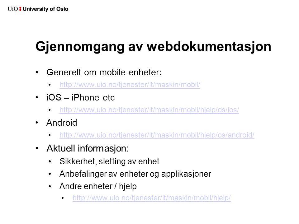 Gjennomgang av webdokumentasjon