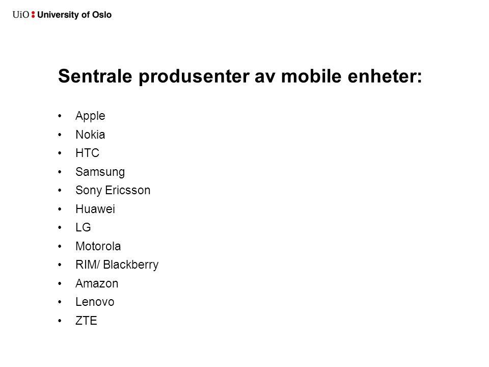 Sentrale produsenter av mobile enheter: