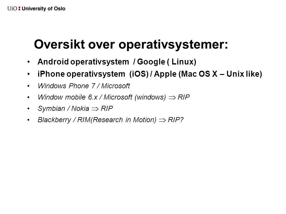 Oversikt over operativsystemer: