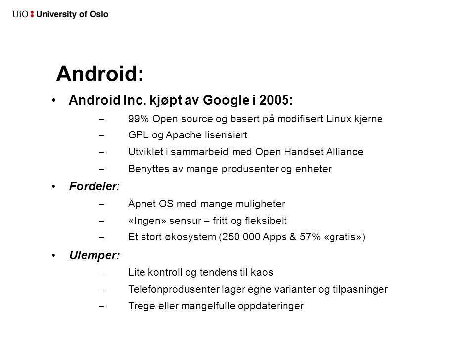 Android: Android Inc. kjøpt av Google i 2005: Fordeler: Ulemper: