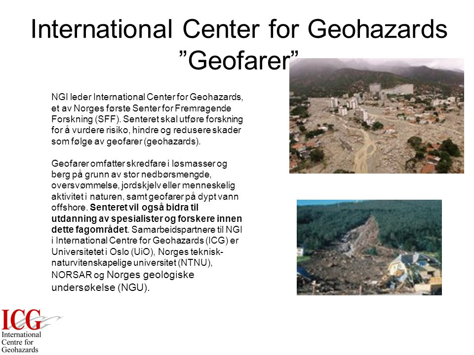 International Center for Geohazards