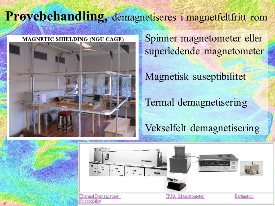 Prøvebehandling, demagnetiseres i magnetfeltfritt rom