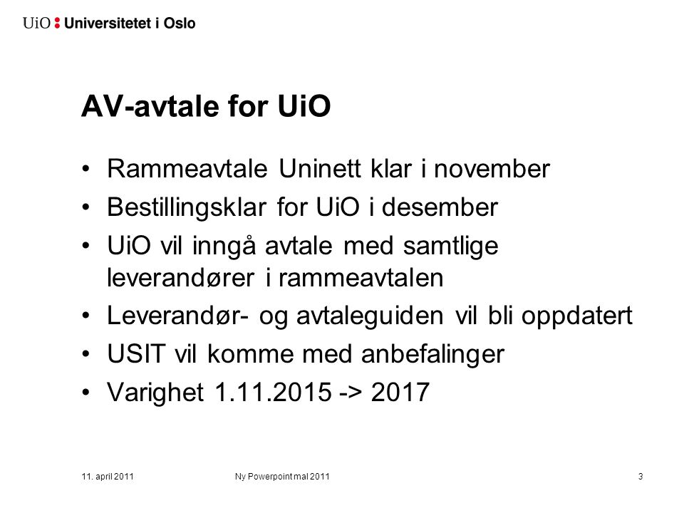 Rammeavtale for audiovisuelt utstyr (AV)