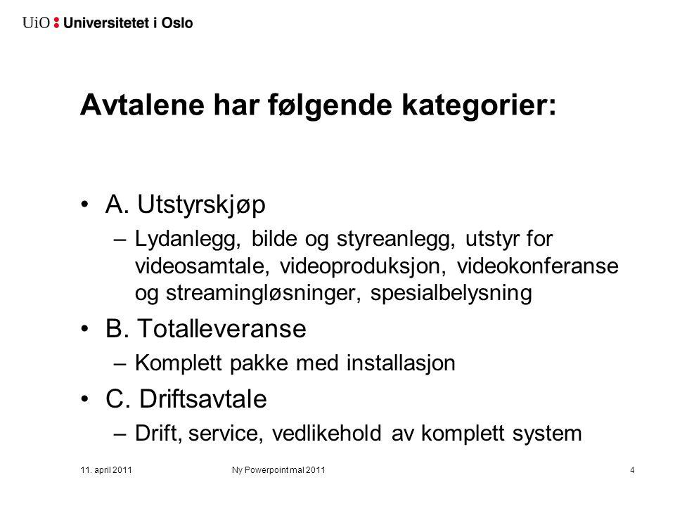 AV-avtale for UiO Rammeavtale Uninett klar i november