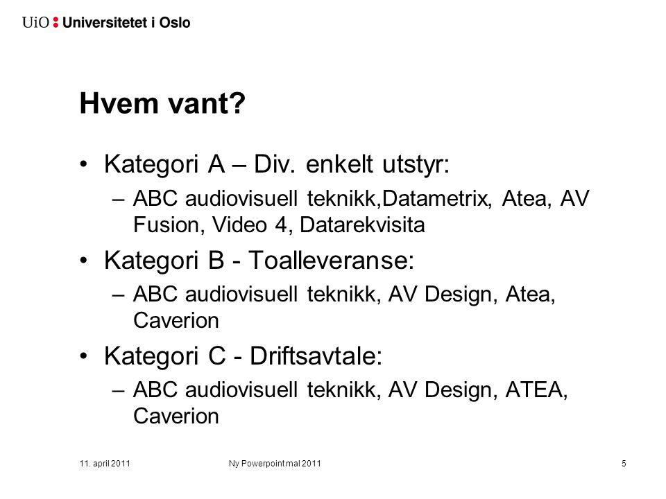 Avtalene har følgende kategorier: