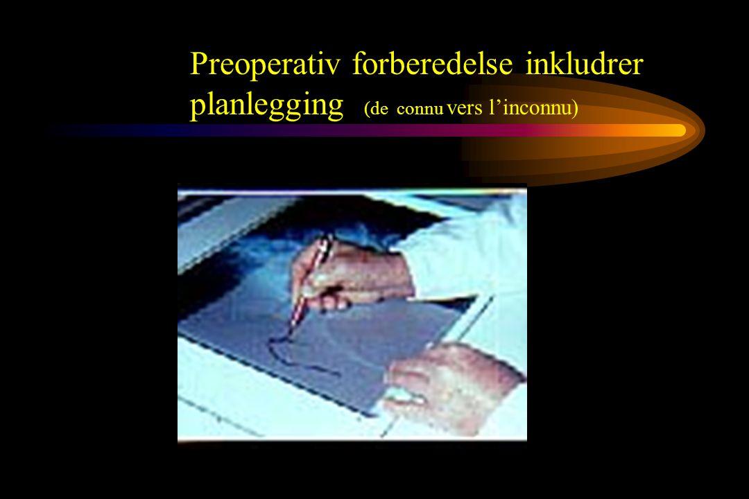 Preoperativ forberedelse inkludrer planlegging (de connu vers l'inconnu)