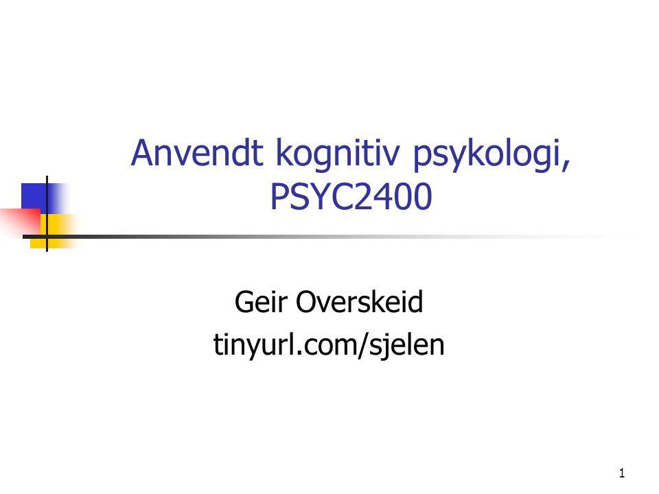 Anvendt kognitiv psykologi, PSYC2400