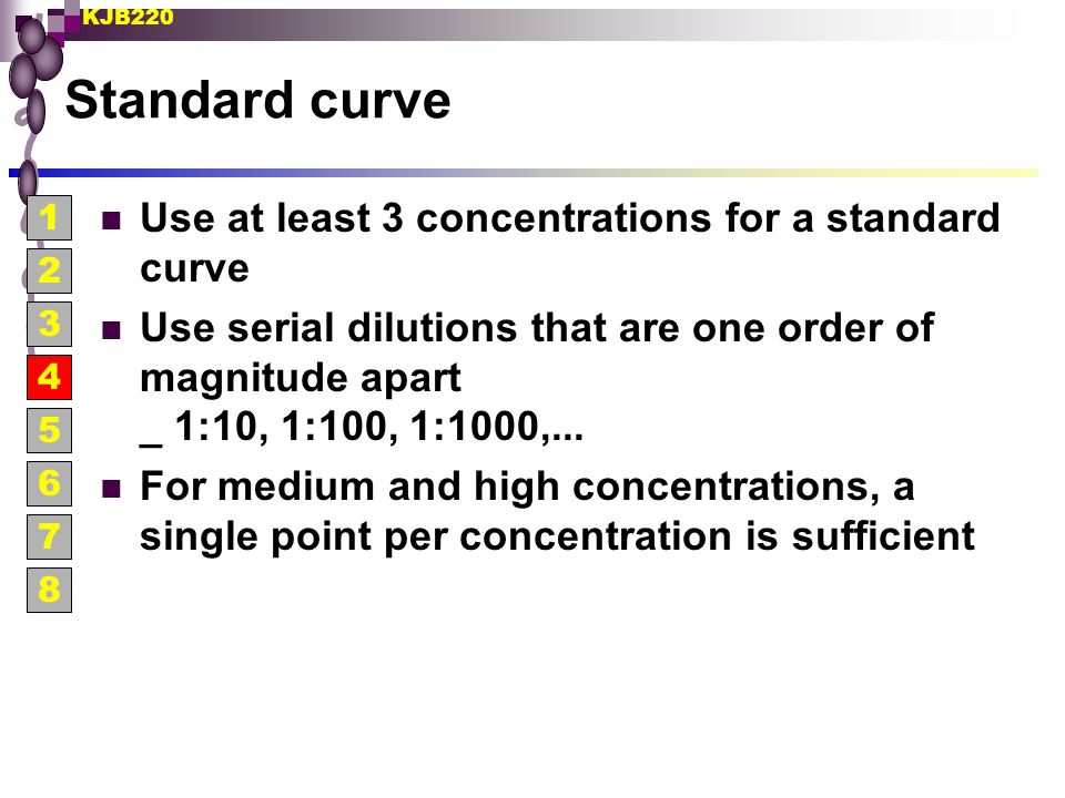 Standard curve Use at least 3 concentrations for a standard curve