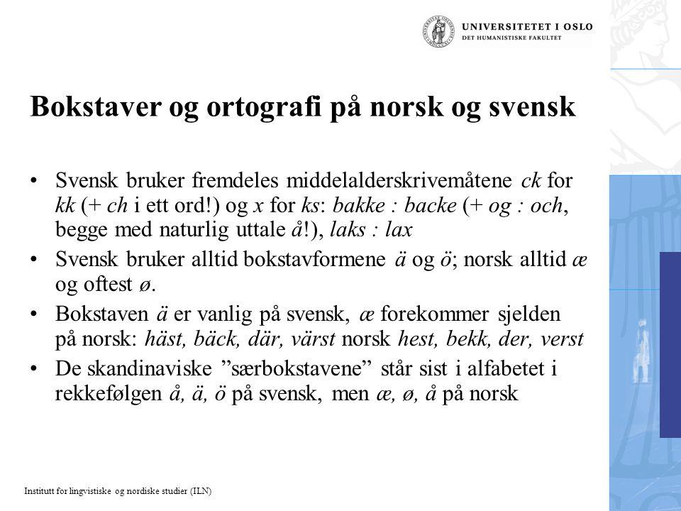 Bokstaver og ortografi på norsk og svensk