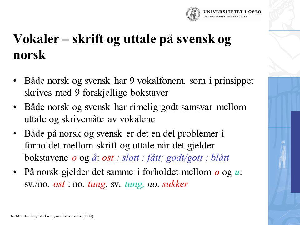Vokaler – skrift og uttale på svensk og norsk