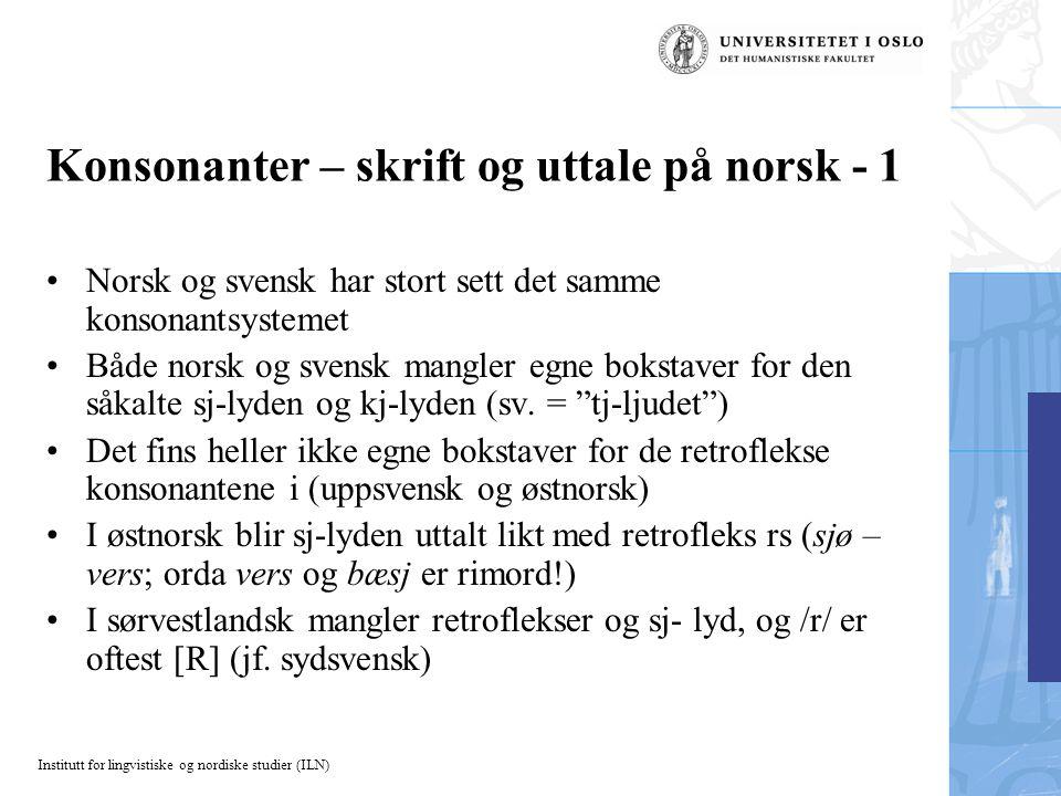 Konsonanter – skrift og uttale på norsk - 1