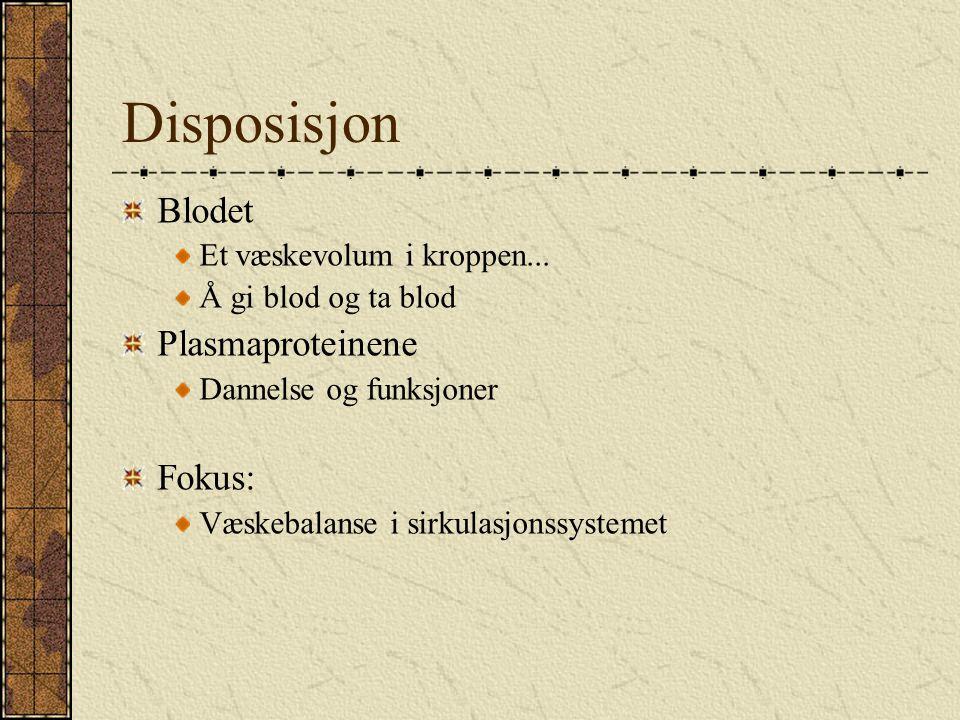 Disposisjon Blodet Plasmaproteinene Fokus: Et væskevolum i kroppen...
