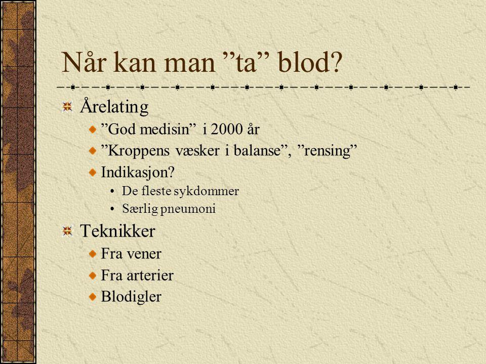 Når kan man ta blod Årelating Teknikker God medisin i 2000 år