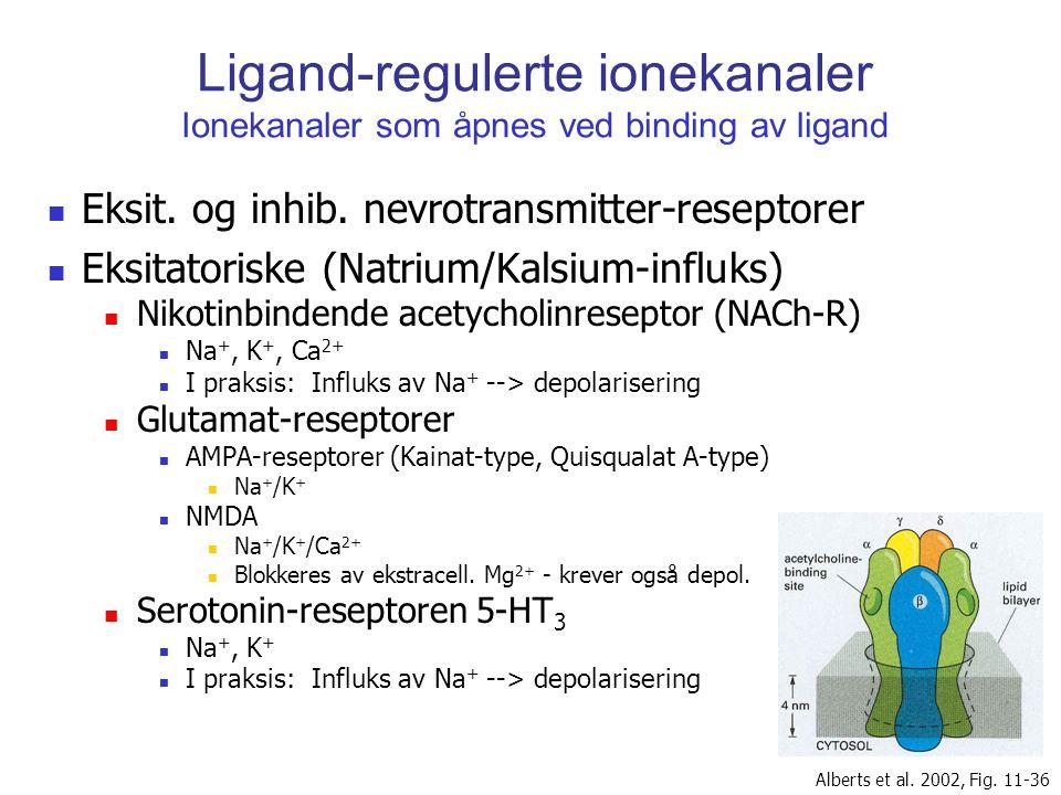 Ligand-regulerte ionekanaler Ionekanaler som åpnes ved binding av ligand