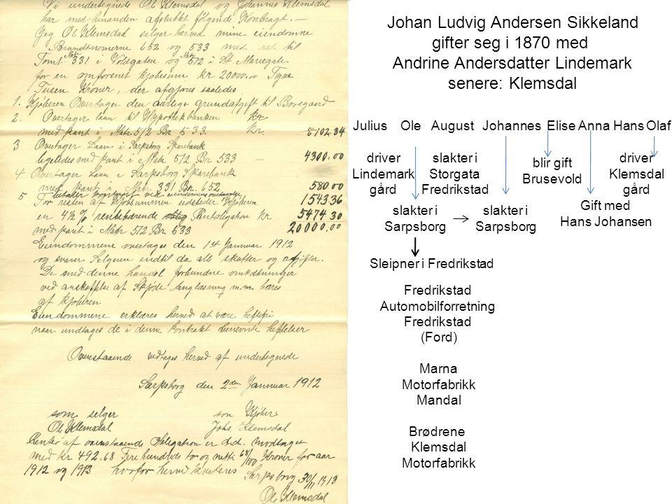 Johan Ludvig Andersen Sikkeland gifter seg i 1870 med