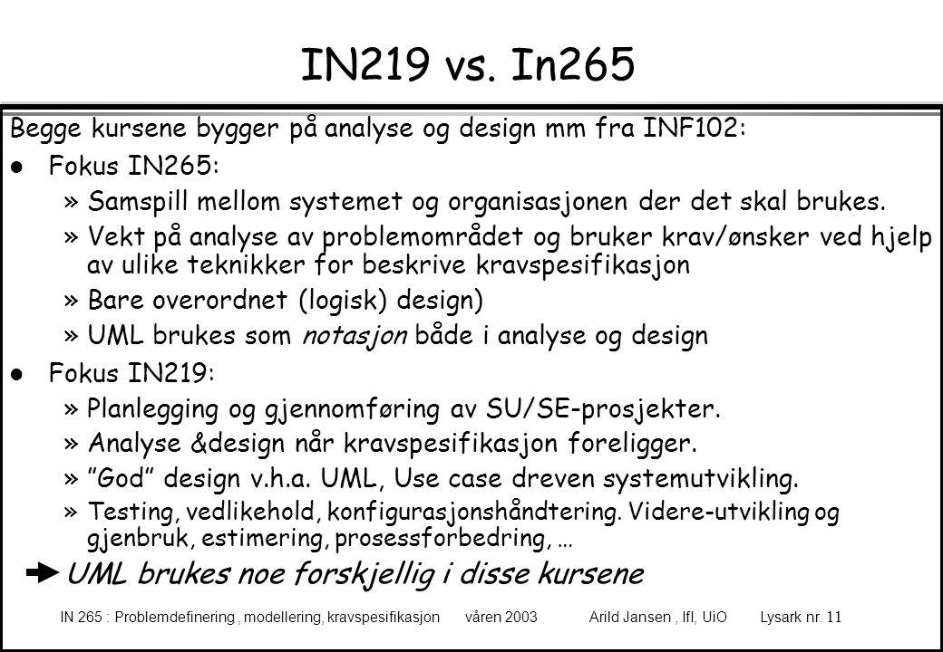 IN219 vs. In265 UML brukes noe forskjellig i disse kursene