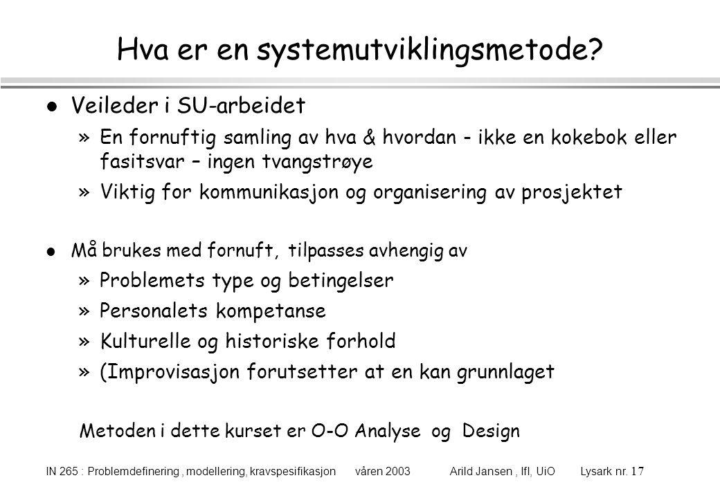 Hva er en systemutviklingsmetode