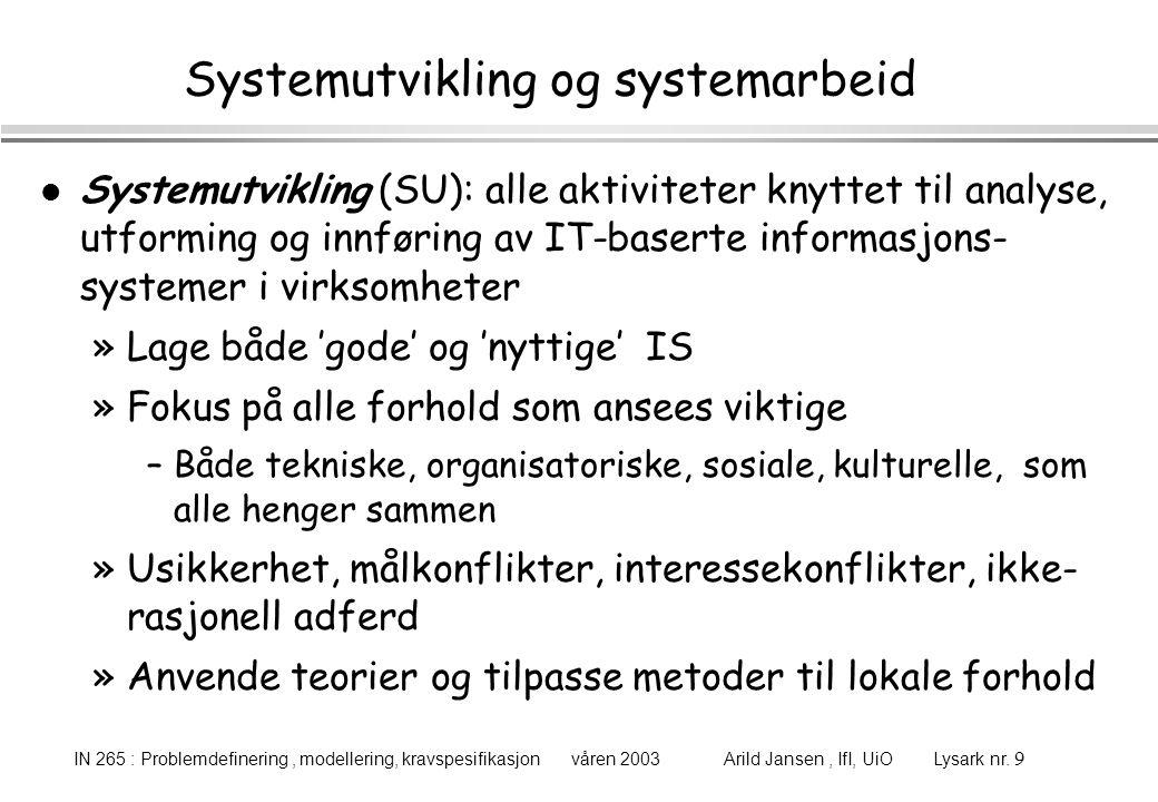 Systemutvikling og systemarbeid