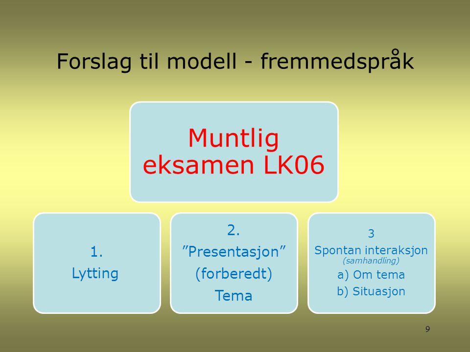 Forslag til modell - fremmedspråk