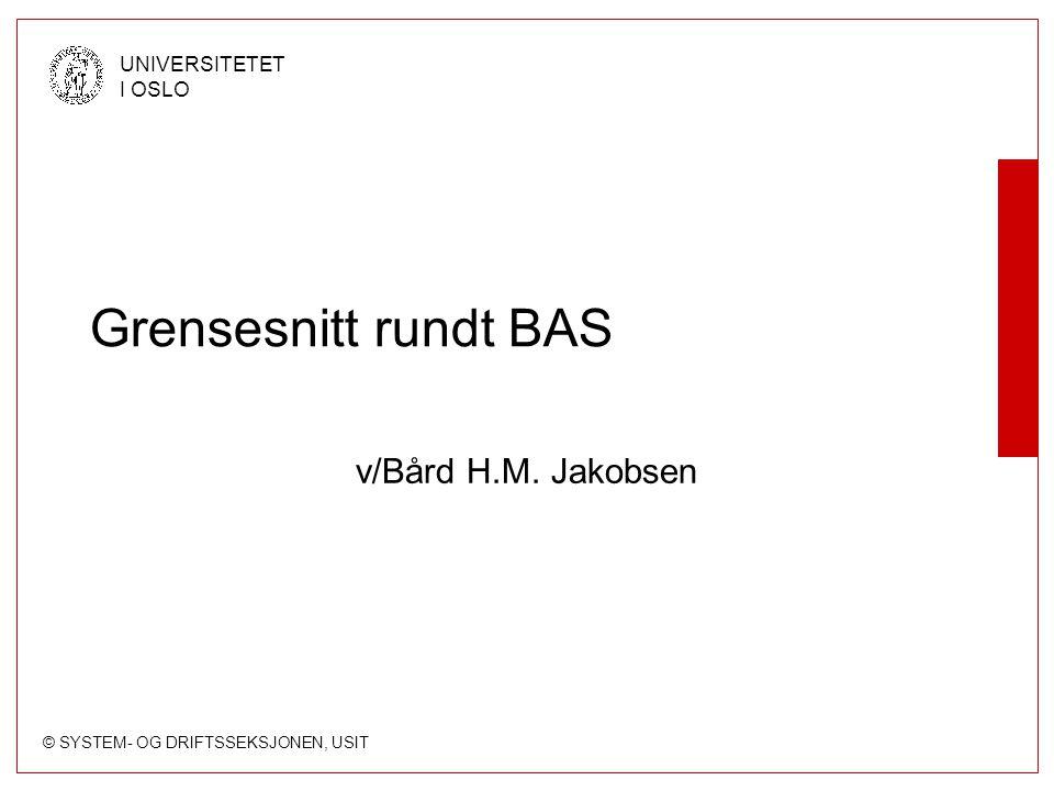 Grensesnitt rundt BAS v/Bård H.M. Jakobsen
