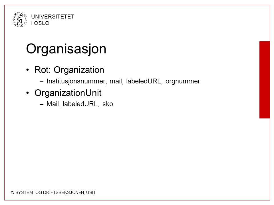 Organisasjon Rot: Organization OrganizationUnit