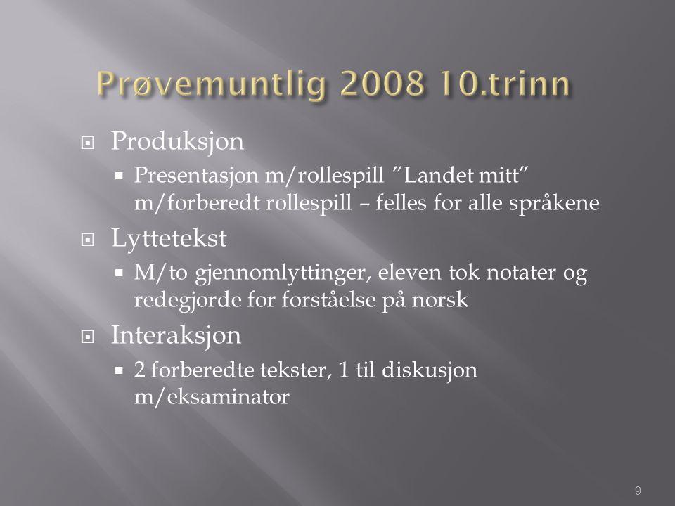 Prøvemuntlig 2008 10.trinn Produksjon Lyttetekst Interaksjon