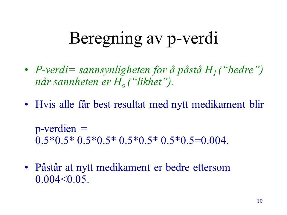Beregning av p-verdi P-verdi= sannsynligheten for å påstå H1 ( bedre ) når sannheten er Ho ( likhet ).