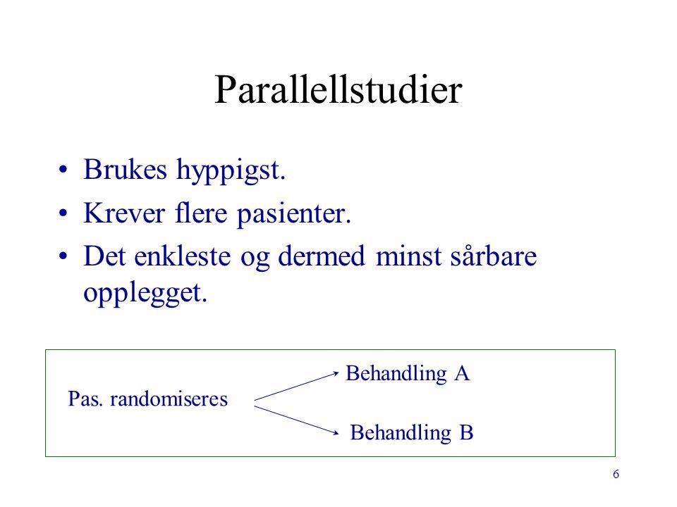 Parallellstudier Brukes hyppigst. Krever flere pasienter.