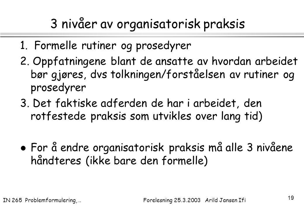 3 nivåer av organisatorisk praksis