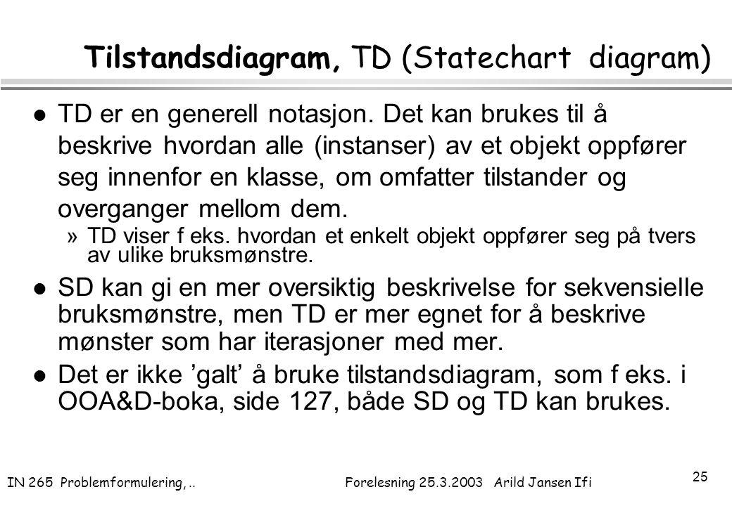 Tilstandsdiagram, TD (Statechart diagram)