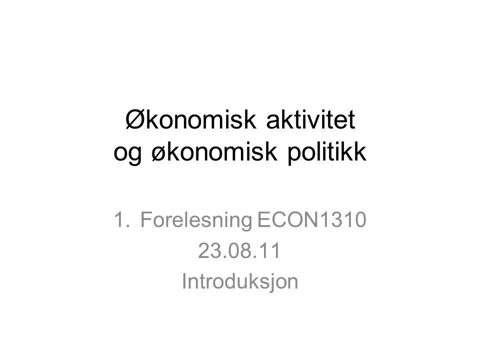 Økonomisk aktivitet og økonomisk politikk