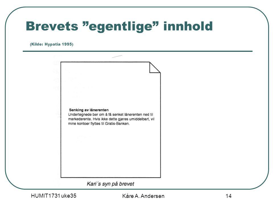 Brevets egentlige innhold (Kilde: Hypatia 1995)