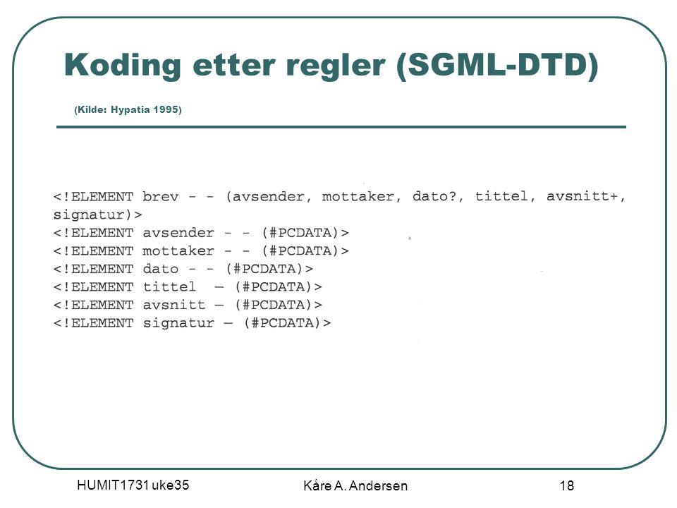Koding etter regler (SGML-DTD) (Kilde: Hypatia 1995)