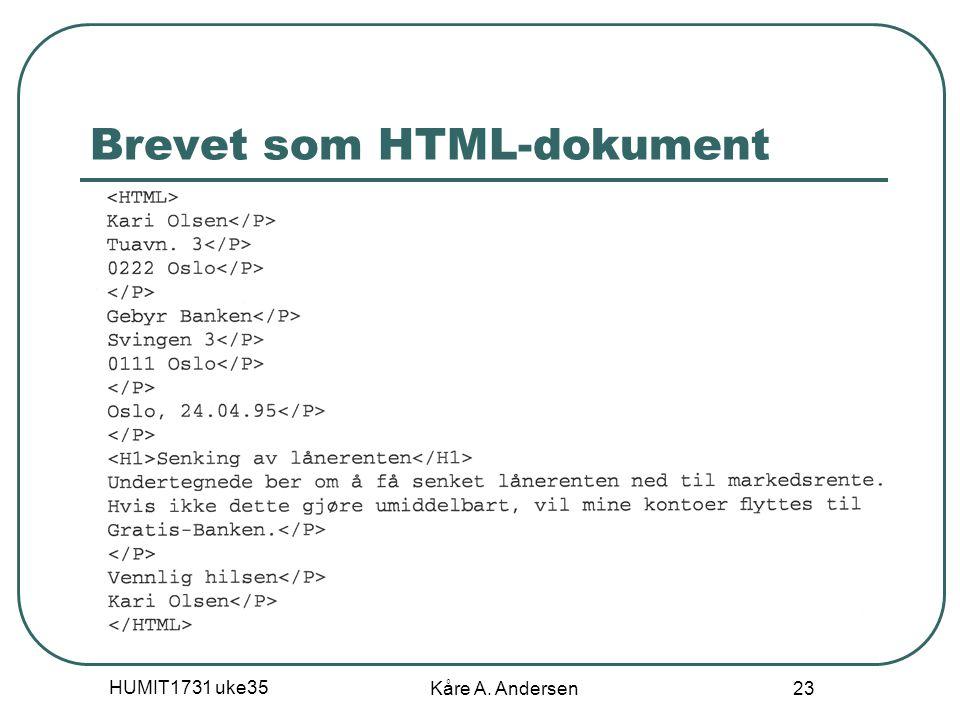 Brevet som HTML-dokument
