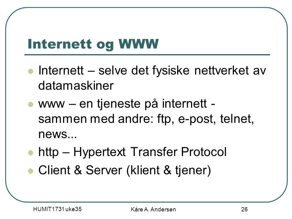 04.04.2017 Internett og WWW. Internett – selve det fysiske nettverket av datamaskiner.