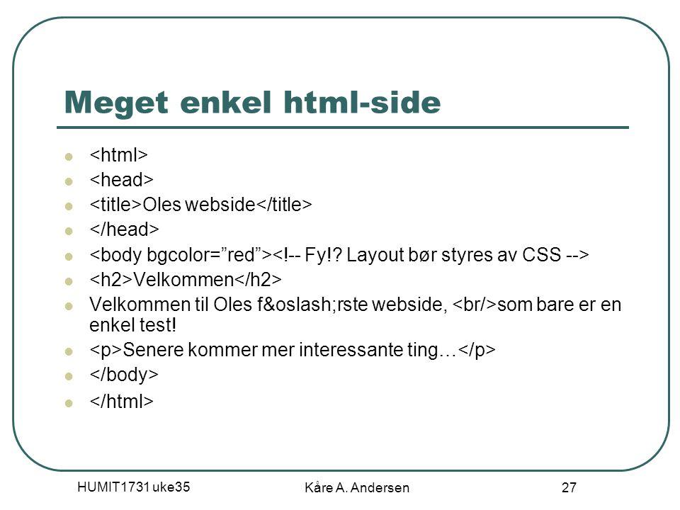 Meget enkel html-side <html> <head>
