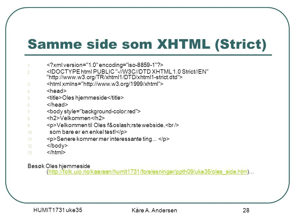 Samme side som XHTML (Strict)