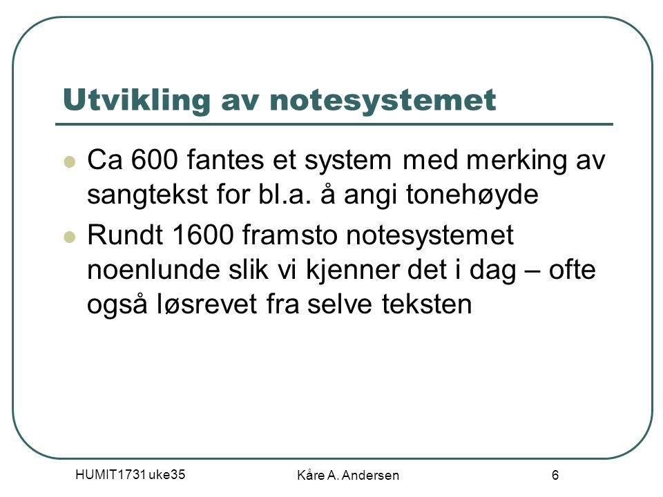 Utvikling av notesystemet
