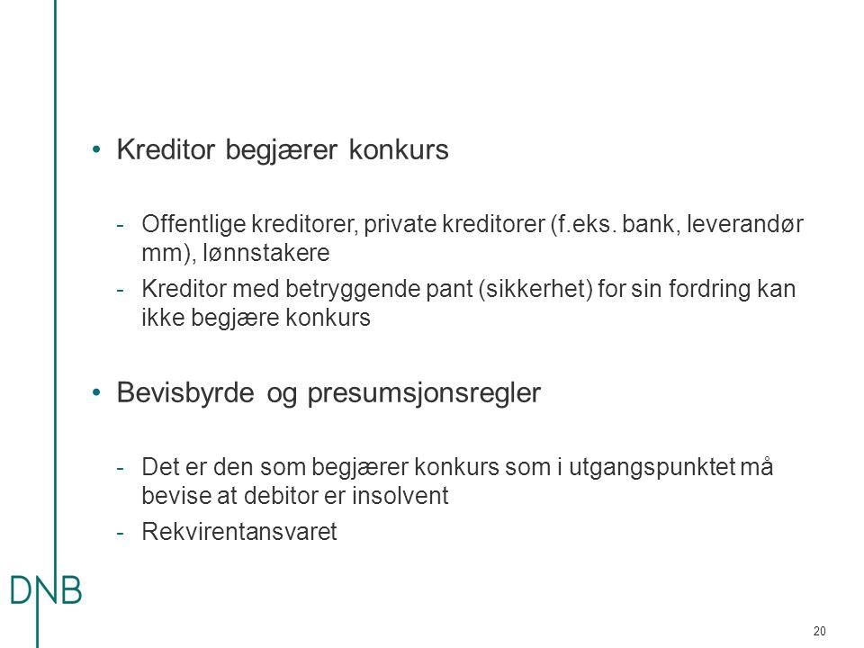 Kreditor begjærer konkurs