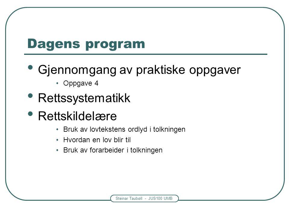 Dagens program Gjennomgang av praktiske oppgaver Rettssystematikk