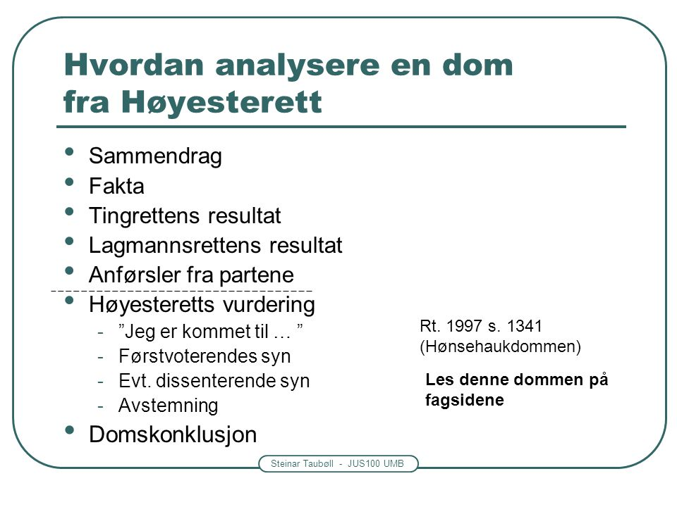 Hvordan analysere en dom fra Høyesterett