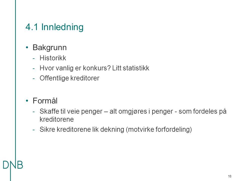 4.1 Innledning Bakgrunn Formål Historikk