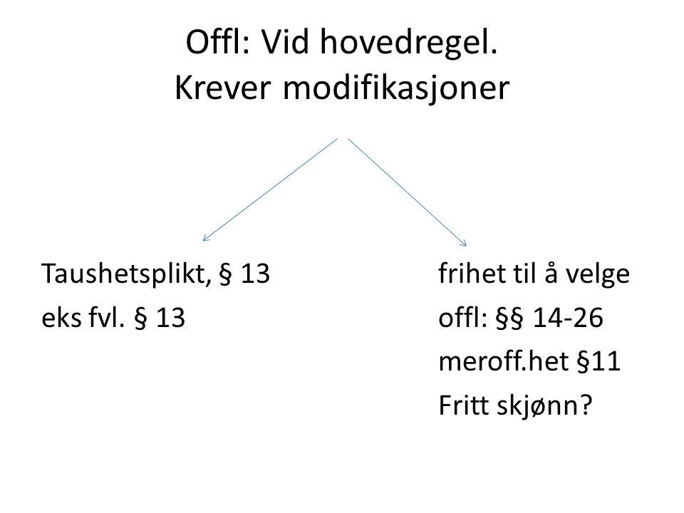 Offl: Vid hovedregel. Krever modifikasjoner