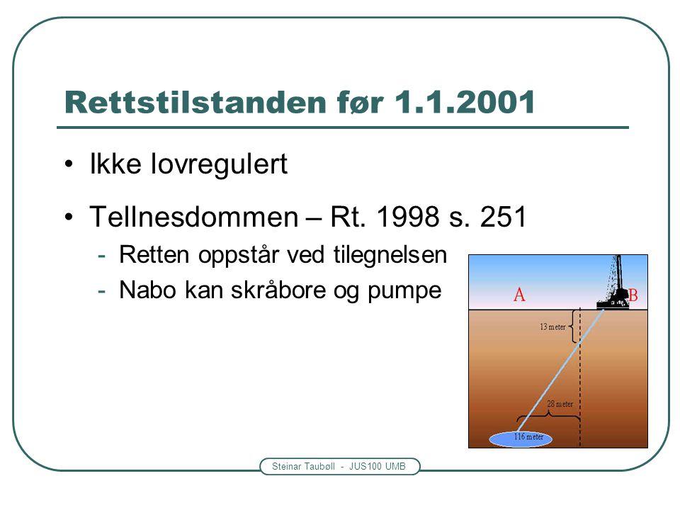 Rettstilstanden før 1.1.2001 Ikke lovregulert