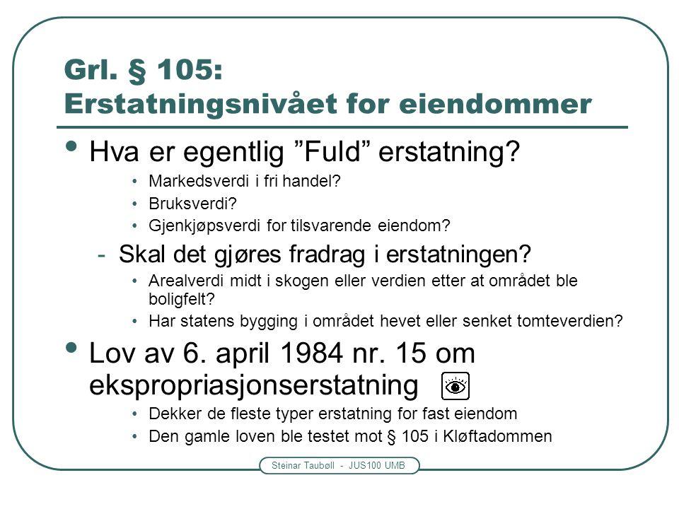 Grl. § 105: Erstatningsnivået for eiendommer