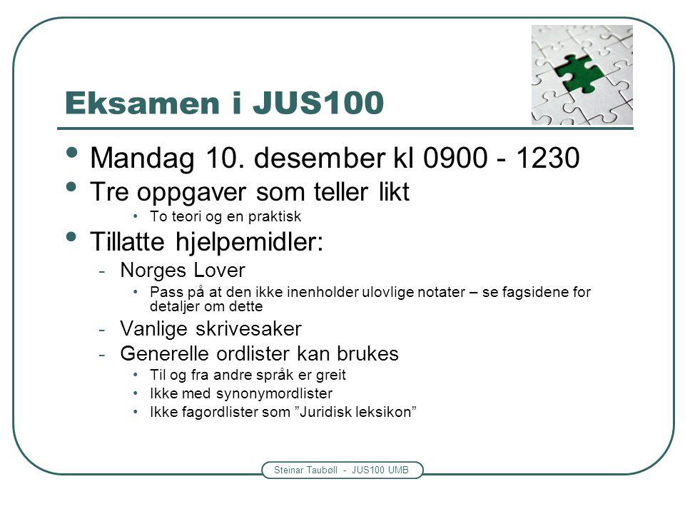 Eksamen i JUS100 Mandag 10. desember kl 0900 - 1230