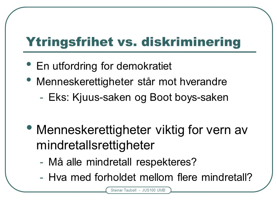 Ytringsfrihet vs. diskriminering